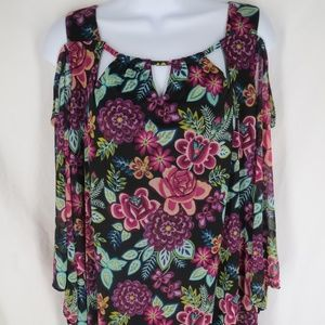 Catherines Women Size 1X 18/20 Short Sleeve Floral